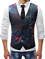 cheap -Men's Vest Gilet Business Fall Spring Regular Coat Single Breasted V Neck Regular Fit Windproof Warm Lightweight Business Casual Jacket Sleeveless Print Print Black