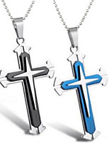 cheap -Charm Necklace Women's Classic Stainless Steel Cross Trendy Cool Blue Black 45+5 cm Necklace Jewelry 1pc for Street Gift Daily Carnival Festival irregular