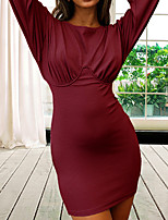 cheap -Women's A Line Dress Short Mini Dress Blue Green Black Red Long Sleeve Solid Color Ruched Fall V Neck Casual 2021 S M L XL XXL