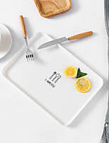 cheap -Nordic Style Rectangular Tray Plate Simple Breakfast Food Plate Plastic Tea Tray Dinner Plate Dessert Tray