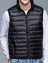 cheap -Men's Polar Fleece Gilet Daily Holiday Fall Winter Regular Coat Zipper Stand Collar Regular Fit Waterproof Warm Casual Streetwear Jacket Sleeveless Solid Color Quilted Blue Wine Army Green