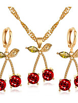 cheap -Women's Cubic Zirconia Necklace Geometrical Cherry Fashion Earrings Jewelry Gold For Gift Daily Work Festival 1 set
