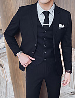 cheap -Men's Wedding Suits 3 pcs Notch Tailored Fit Single Breasted Two-buttons Patch Pocket Solid Colored Cotton