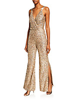 cheap -Jumpsuits Beautiful Back Sexy Wedding Guest Formal Evening Dress V Neck Sleeveless Floor Length Sequined with Sequin Split 2021