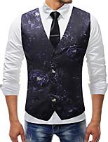 cheap -Men's Vest Gilet Business Fall Spring Regular Coat Single Breasted V Neck Regular Fit Windproof Warm Lightweight Business Casual Jacket Sleeveless Print Print Navy Blue