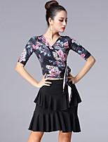 cheap -Latin Dance Ballroom Dance Skirts Printing Cinch Cord Pleats Women's Training Performance Half Sleeve High Polyester