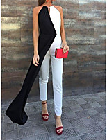 cheap -Jumpsuits Minimalist Color Clash Party Wear Wedding Guest Dress Halter Neck Sleeveless Ankle Length Stretch Fabric with Sleek 2021