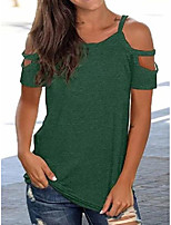 cheap -off shoulder casual short sleeve shirts & tops