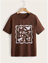 cheap -Women's T shirt Animal Round Neck Basic Tops Brown