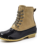 cheap -Women's Boots Flat Heel Round Toe Mid Calf Boots Daily Faux Leather Solid Colored Yellow Black Brown / Mid-Calf Boots