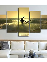 cheap -5 Panels Wall Art Canvas Prints Painting Artwork Picture Landscape People Surfing Home Decoration Decor Rolled Canvas No Frame Unframed Unstretched