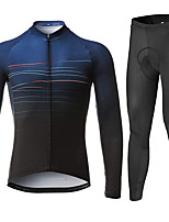 cheap -21Grams Men's Long Sleeve Cycling Jersey with Tights Summer Spandex Blue / Black Stripes Bike Quick Dry Moisture Wicking Sports Stripes Mountain Bike MTB Road Bike Cycling Clothing Apparel / Stretchy