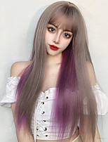 cheap -Gradient Wig Female Hair Air Bangs Long Straight Hair Wig Granny Gray / Gold / Orange Synthetic Heat-Resistant Wig.
