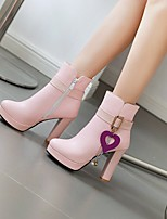 cheap -Women's Boots Chunky Heel Round Toe Booties Ankle Boots Daily Work PU Solid Colored Pink White Black / Booties / Ankle Boots