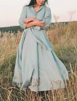 cheap -Women's A Line Dress Maxi long Dress Green Light Blue 3/4 Length Sleeve Solid Color Lace up Button Fall Shirt Collar Elegant Casual Vintage 2021 3XL