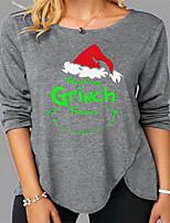 cheap -Women's Christmas 3D Printed T shirt Letter Long Sleeve Print Round Neck Basic Tops Regular Fit Gray