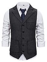 cheap -Men's Vest Gilet Business Work Fall Summer Regular Coat Single Breasted Turndown Regular Fit Breathable Business Casual Jacket Sleeveless Plain Pocket Khaki Dark Grey Black