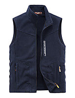 cheap -Men's Vest Gilet Sport Daily Going out Fall Winter Regular Coat Zipper Stand Collar Regular Fit Warm Breathable Sporty Casual Jacket Sleeveless Solid Color Full Zip Pocket Dark Grey Black Navy Blue