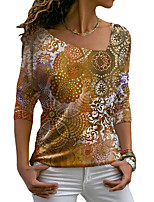 cheap -Women's Abstract Painting T shirt Graphic Long Sleeve Print V Neck Basic Tops Blue Purple Yellow / 3D Print