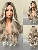 """cheap -24""""Long Wavy Wigs Wigs for Women Brown Ombre Silver Grey Blend Hair Wigs,Heat-Resistant Synthetic Wigs for Daily Parties And Role-Playing. (D)"""