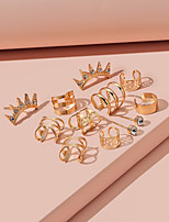 cheap -Women's Stud Earrings Drop Earrings Hoop Earrings Retro Crown Flower Shape Unique Design Vintage Modern Punk Earrings Jewelry Gold For Party Gift Daily Prom Club 6 Pairs / Clip on Earring