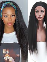 cheap -Long Kinky Straight Belt Wig Black Ladies Natural Black Synthetic wig Yaki Straight African wig half wig