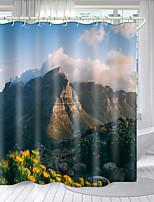 cheap -Beautiful Mountain And Sea Series Digital Printing Shower Curtain Shower Curtains  Hooks Modern Polyester New Design