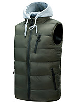 cheap -Men's Vest Gilet Street Daily Fall Winter Regular Coat Zipper Stand Collar Regular Fit Thermal Warm Breathable Casual Jacket Sleeveless Solid Color Quilted Pocket Blue Wine Ginger / Removable Hood