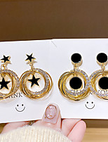 cheap -Women's Earrings Geometrical Princess Korean Silver Earrings Jewelry Black / Gold For Party Wedding Anniversary Daily 2 Pairs