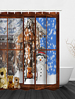 cheap -Christmas Shower Curtain Tree Day Party Tapestry Art Deco Blanket Curtain Hanging Home Bedroom Living Room Decoration Tree Elk Snowflake Candle Santa Gift Fireplace Snowman