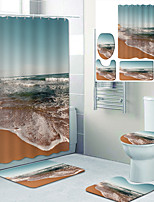 cheap -Beach Waves Printed Bathroom home Decoration Bathroom shower curtain lining waterproof shower curtain with 12 hooks floor mats and four-piece toilet mats.