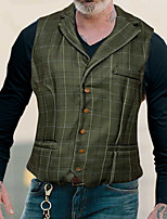 cheap -Men's Vest Waistcoat Dailywear Leisure Striped Single Breasted Regular Fit Polyester Men's Suit Army Green - Shirt Collar