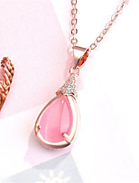 cheap -Pendant Necklace Necklace Women's Classic Cubic Zirconia Rose Gold Plated Simple Fashion Classic Casual / Sporty Sweet Cute Pink 45 cm Necklace Jewelry 1pc for Street Gift Daily Prom Festival