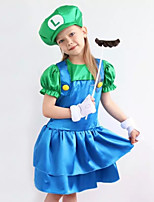 cheap -Mario Dress Cosplay Costume Kid's Girls' Dresses Halloween Halloween Halloween Festival / Holiday Polyster Green Easy Carnival Costumes Solid Color / Gloves / Hat