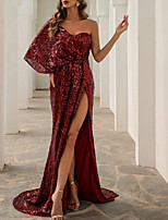 cheap -Sheath / Column Empire Sexy Party Wear Formal Evening Dress One Shoulder Sleeveless Sweep / Brush Train Sequined with Sequin Split 2021