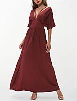 cheap -Women's Swing Dress Maxi long Dress L Red Half Sleeve Solid Color Backless Fall Spring Deep V Elegant Casual Regular Fit 2021 S M L XL XXL
