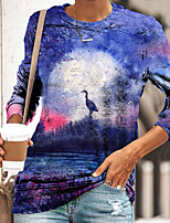 cheap -Women's Abstract 3D Printed Painting T shirt Scenery 3D Long Sleeve Print Round Neck Basic Tops Purple