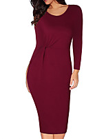 cheap -Women's Sheath Dress Knee Length Dress Wine Navy Blue Long Sleeve Solid Color Ruched Fall Round Neck Casual 2021 S M L XL XXL 3XL 4XL 5XL