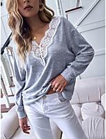 cheap -Women's T shirt Color Block Long Sleeve Patchwork Lace Trims V Neck Basic Tops Gray