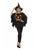 cheap -Witch Cosplay Costume Adults' Women's Halloween Halloween Festival Halloween Festival / Holiday Terylene Black Women's Easy Carnival Costumes Printing / Top / Pants / Hat