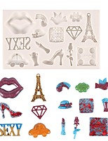 cheap -Lips Paris Eiffel Tower Car Silicone Mould Fondant Cake Silicone Mold Cake Decorating Tools Birthday Decor Chocolate Candy Mold Resin Mold