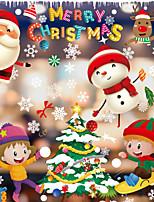 cheap -Christmas Decoration Color Christmas Window Paste White Snowflake Wall Paste Window Dressing Traceless Electrostatic Window Paste