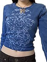 cheap -women vintage graphic print long sleeve crop top slim fit aesthetic harajuku t-shirts 90s e-girl autumn shirts