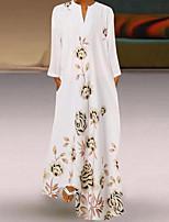 cheap -Women's Swing Dress Maxi long Dress White Half Sleeve Floral Print Fall V Neck Casual 2021 S M L XL XXL 3XL 4XL 5XL