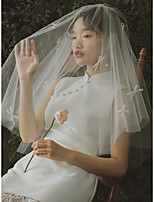 cheap -One-tier Cute / Sweet Wedding Veil Elbow Veils with Solid / Trim Tulle