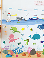 cheap -cartoon ocean world octopus whale sea tower water plants children's room home decoration wall stickers