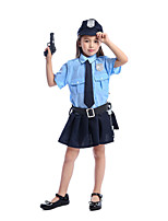 cheap -Police Dress Kid's Girls' Dresses Halloween Halloween Festival / Holiday Polyster Blue Easy Carnival Costumes Solid Color / Belt / Hat / Tie