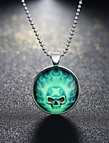 cheap -Pendant Necklace Men's Women's Geometrical Skull Fashion Cool Silver 60 cm Necklace Jewelry 1pc for Halloween Street Daily Festival Round