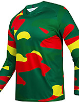 cheap -21Grams Men's Long Sleeve Cycling Jersey Spandex Army Green 3D Camo / Camouflage Bike Top Mountain Bike MTB Road Bike Cycling Quick Dry Moisture Wicking Sports Clothing Apparel / Stretchy