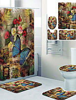 cheap -Vintage Flower Butterfly Printed Bathroom Home Decoration Bathroom Shower Curtain Lining Waterproof Shower Curtain With 12 Hooks Floor Mats and Four-Piece Toilet Mats.